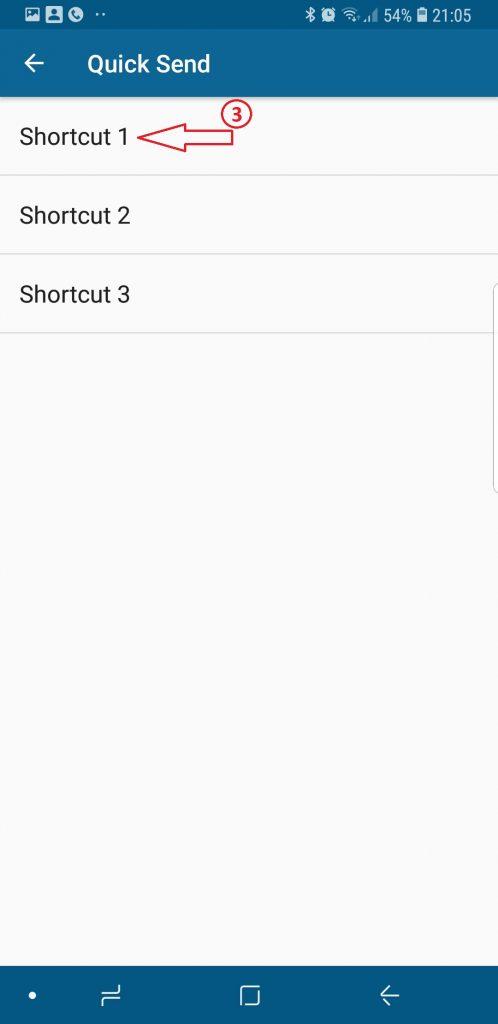 Quick Send Kies shortcut