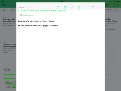 getypte tekst in Evernote Neo Notes app