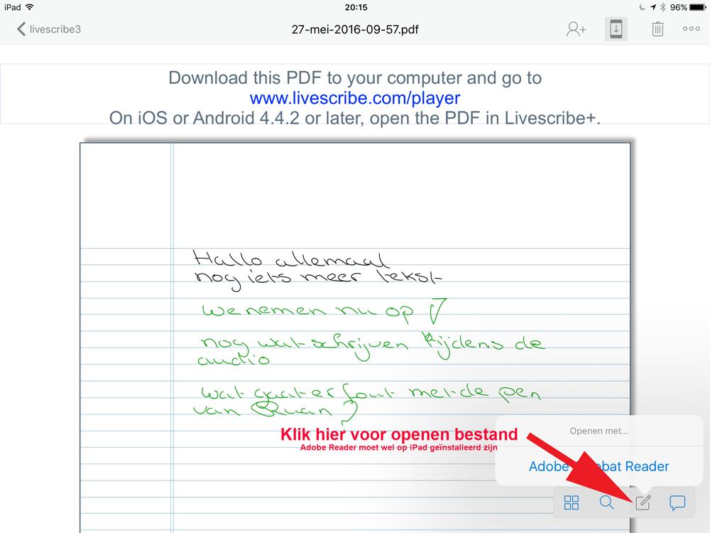 livescribe 3 Bestand-openen-met-Adobe-Reader