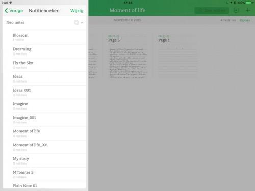 Notitieboeken in Evernote Neo Notes app
