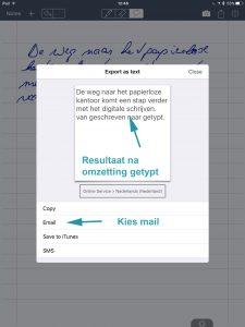 MyScript Memo Exporteer en email