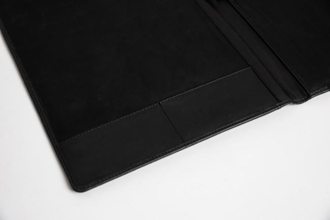 A4 schrijfmap zwart leer